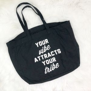 Handbags - Your Vibe Attracts Your Tribe Canvas Tote Bag {E}